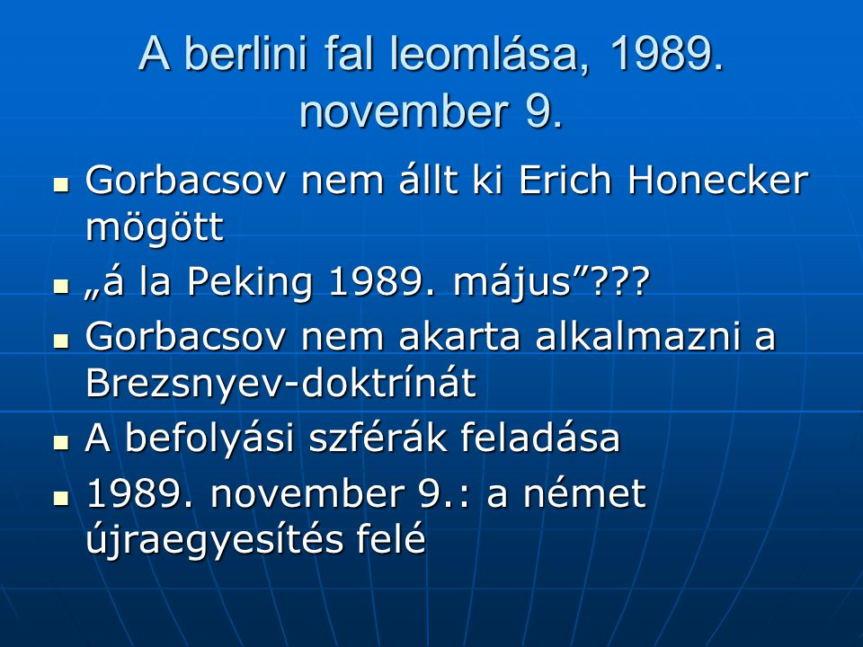 A berlini fal leomlása, 1989. november 9.