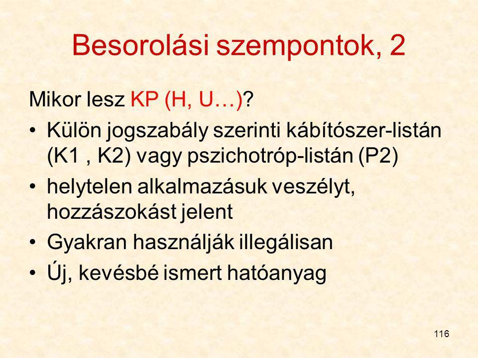 Besorolási szempontok, 2