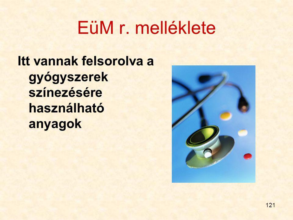 EüM r. melléklete Itt vannak felsorolva a gyógyszerek színezésére használható anyagok