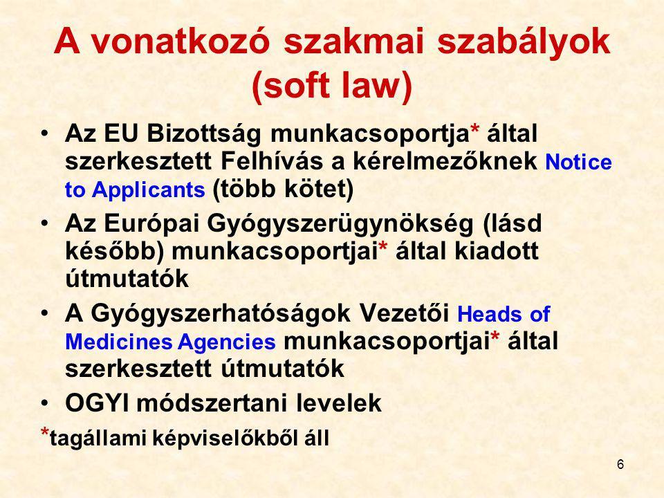A vonatkozó szakmai szabályok (soft law)
