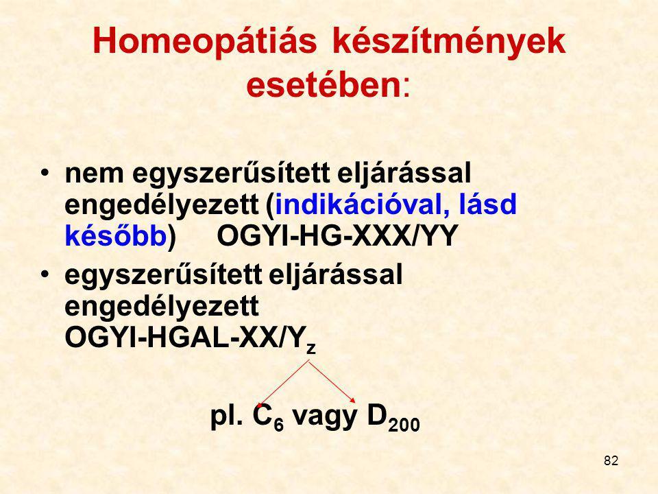 Homeopátiás készítmények esetében: