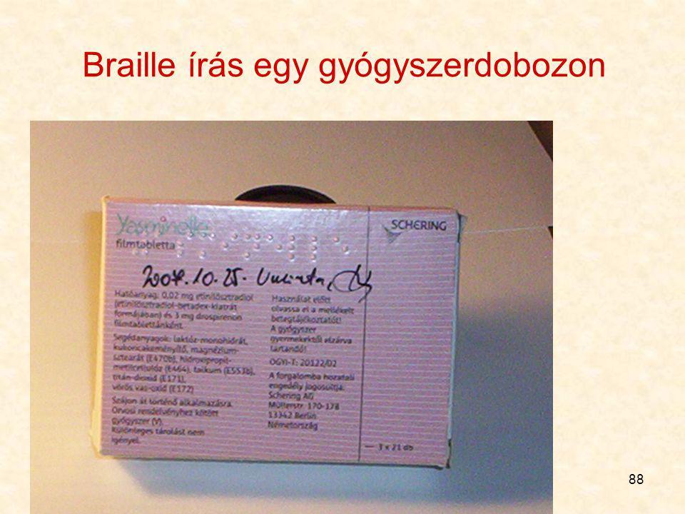 Braille írás egy gyógyszerdobozon