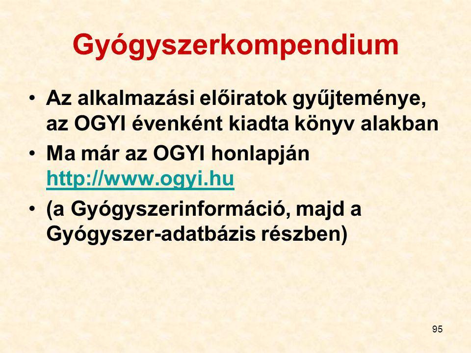 Gyógyszerkompendium Az alkalmazási előiratok gyűjteménye, az OGYI évenként kiadta könyv alakban. Ma már az OGYI honlapján http://www.ogyi.hu.