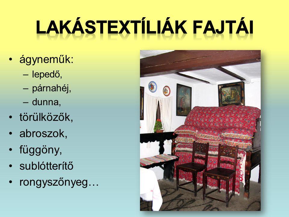 Lakástextíliák fajtái