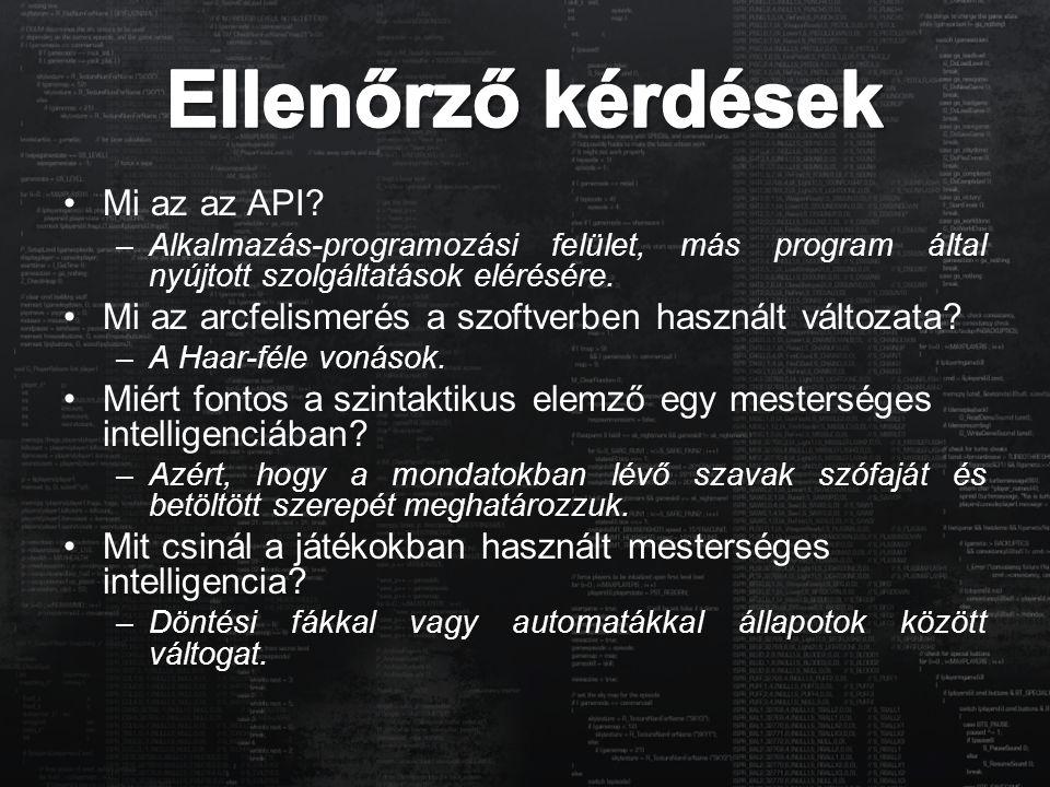 Ellenőrző kérdések Mi az az API
