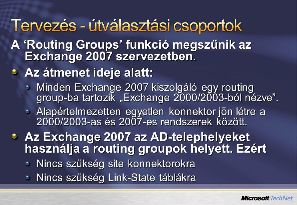 Tervezés - útválasztási csoportok
