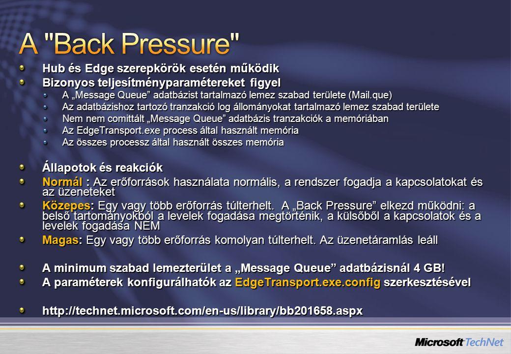 A Back Pressure Hub és Edge szerepkörök esetén működik