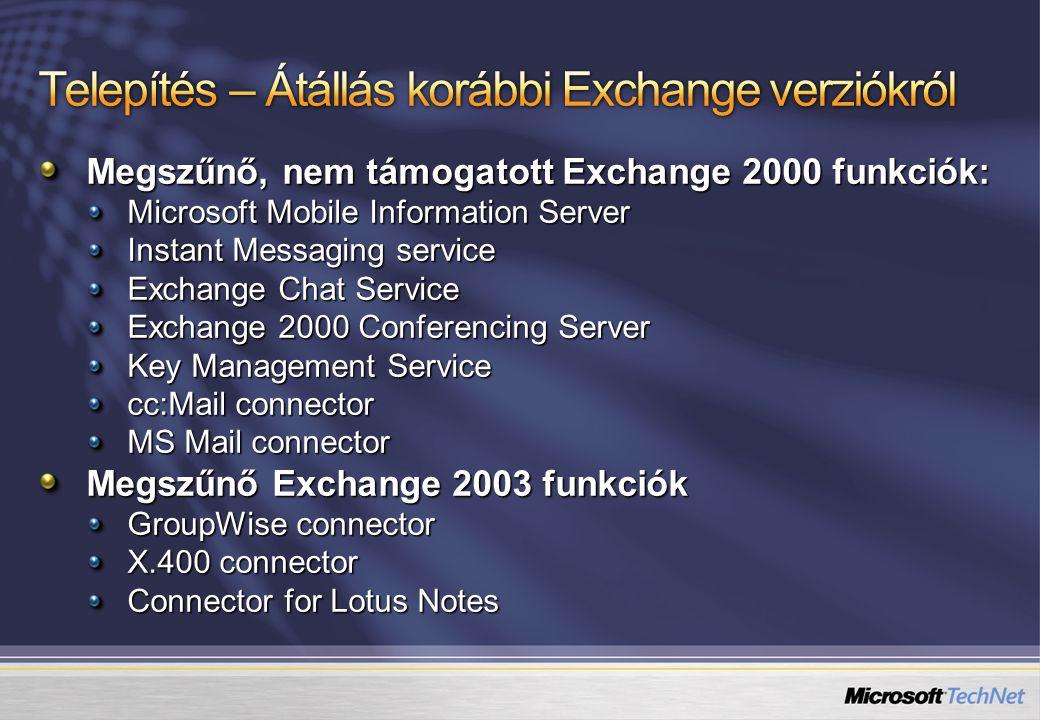 Telepítés – Átállás korábbi Exchange verziókról