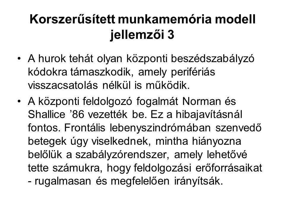 Korszerűsített munkamemória modell jellemzői 3