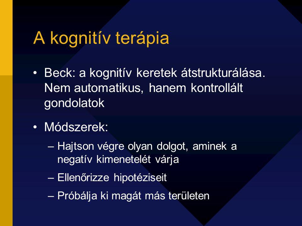 A kognitív terápia Beck: a kognitív keretek átstrukturálása. Nem automatikus, hanem kontrollált gondolatok.