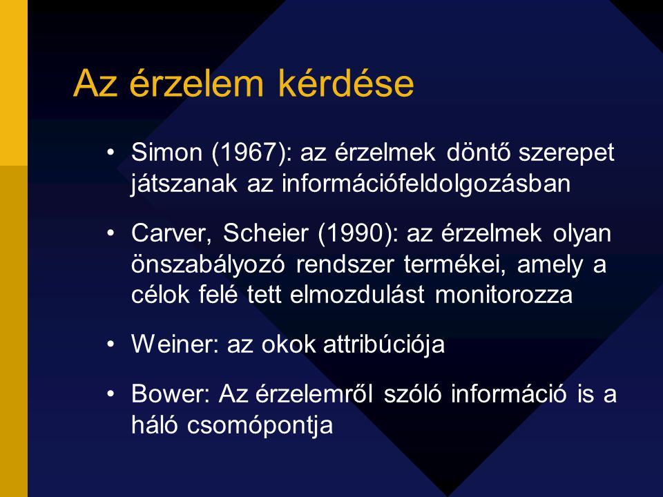 Az érzelem kérdése Simon (1967): az érzelmek döntő szerepet játszanak az információfeldolgozásban.