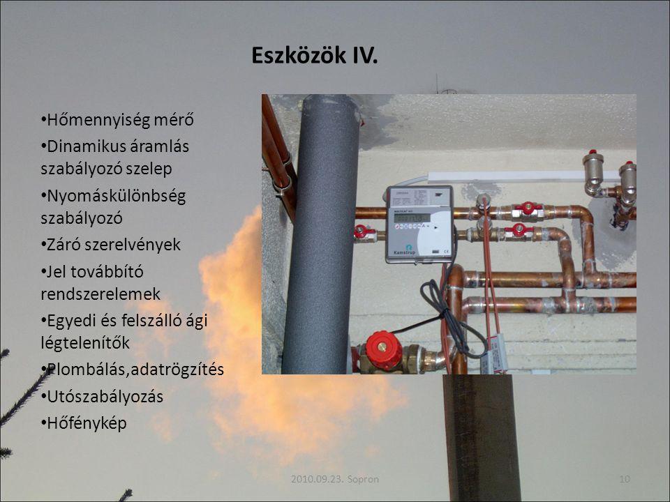 Eszközök IV. Hőmennyiség mérő Dinamikus áramlás szabályozó szelep