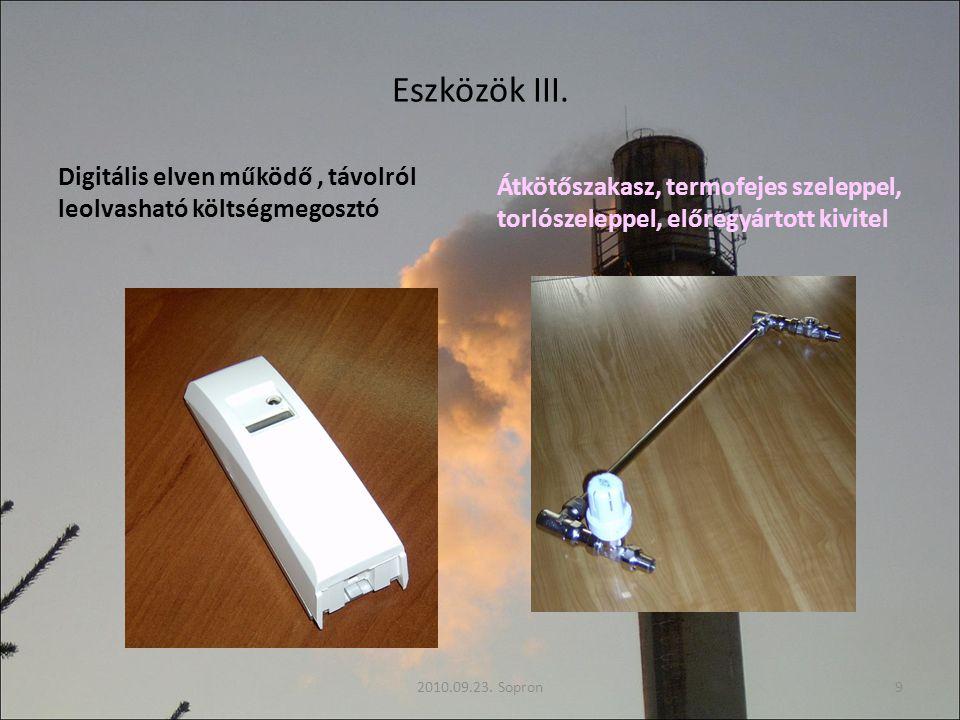 Eszközök III. Digitális elven működő , távolról leolvasható költségmegosztó.