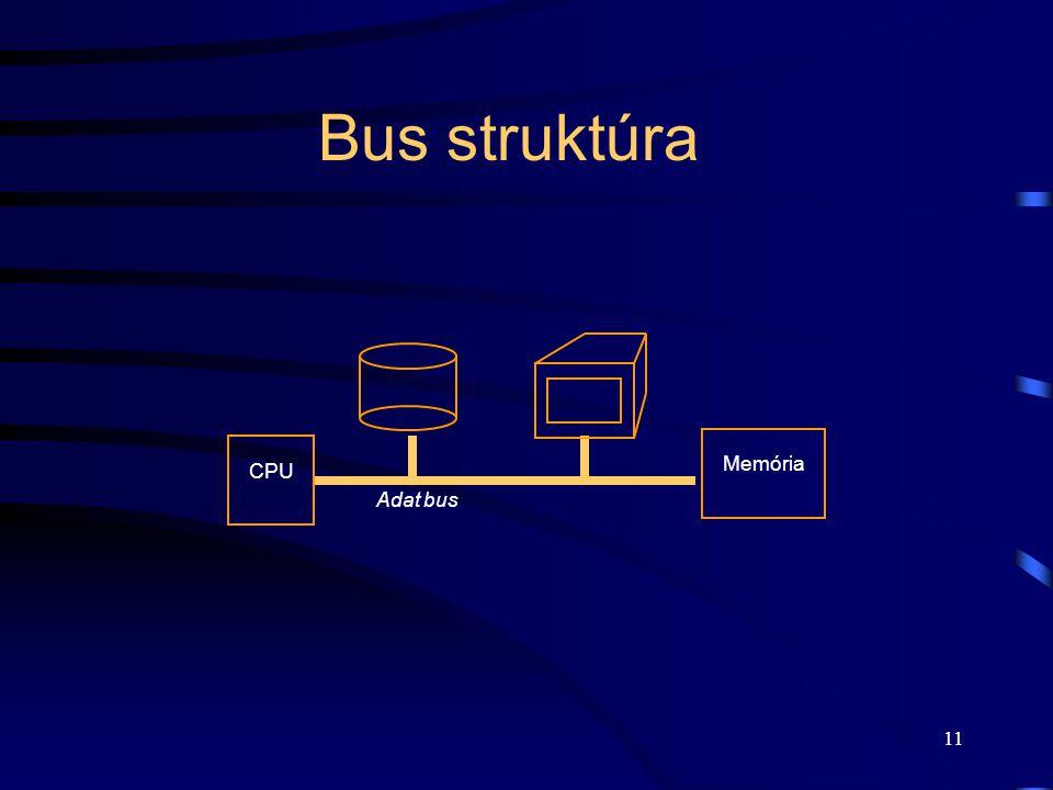 Bus struktúra Adat bus Memória CPU