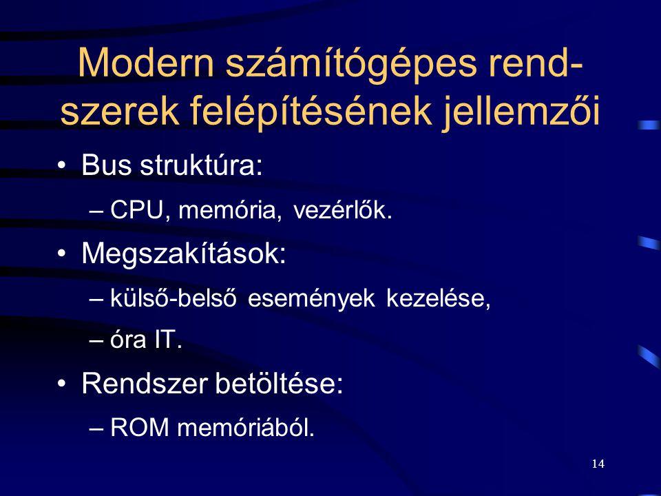 Modern számítógépes rend- szerek felépítésének jellemzői