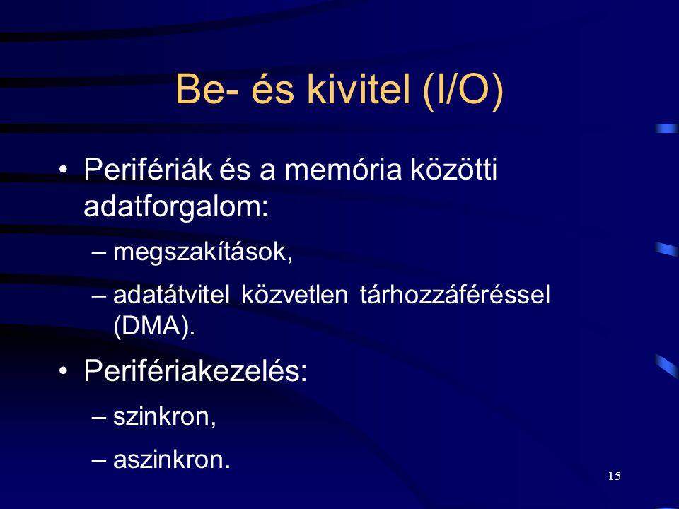 Be- és kivitel (I/O) Perifériák és a memória közötti adatforgalom: