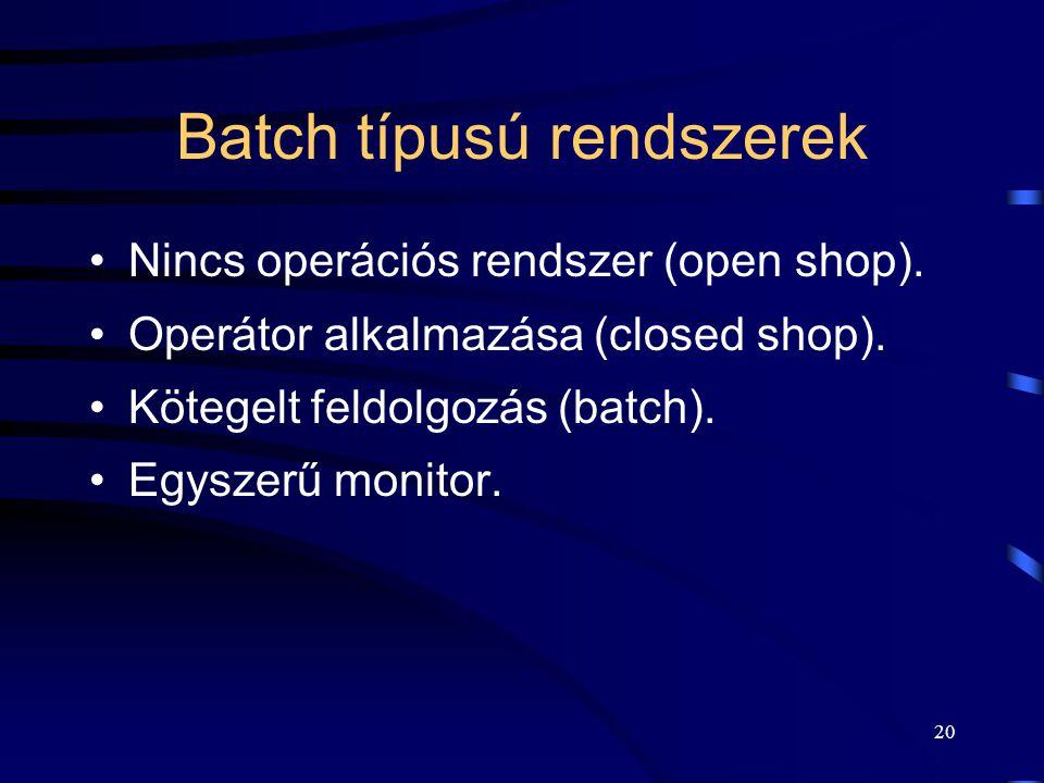 Batch típusú rendszerek