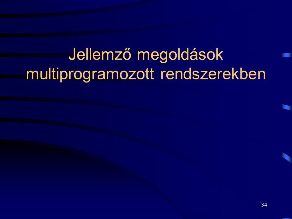 Jellemző megoldások multiprogramozott rendszerekben