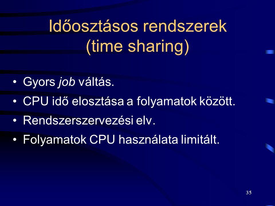 Időosztásos rendszerek (time sharing)