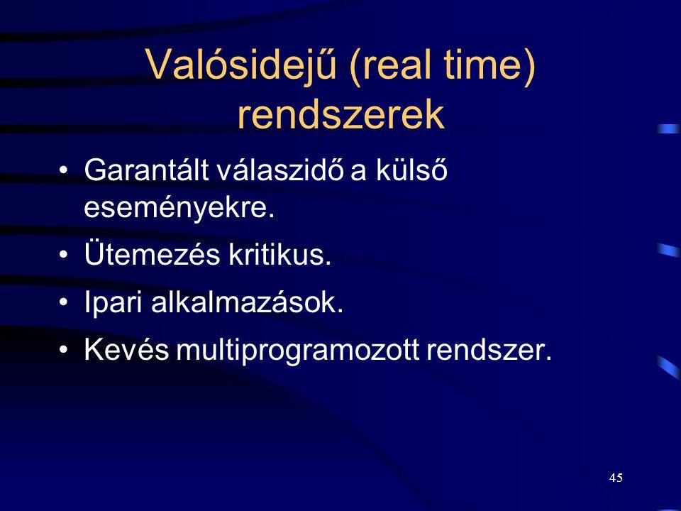 Valósidejű (real time) rendszerek