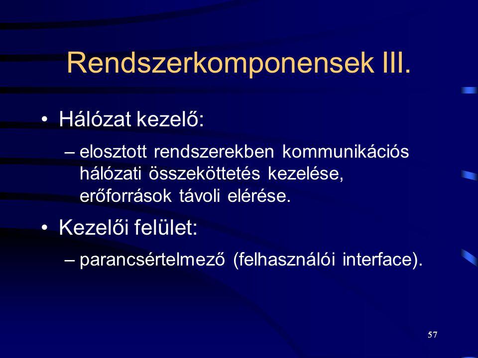 Rendszerkomponensek III.