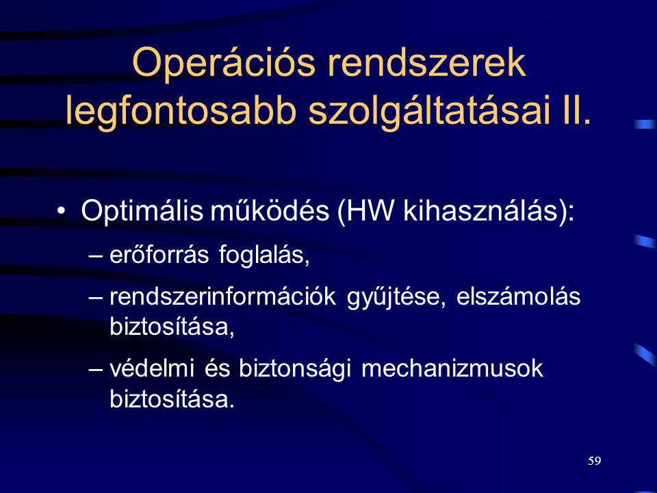 Operációs rendszerek legfontosabb szolgáltatásai II.