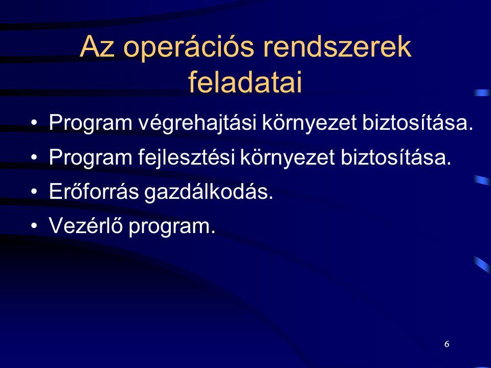 Az operációs rendszerek feladatai