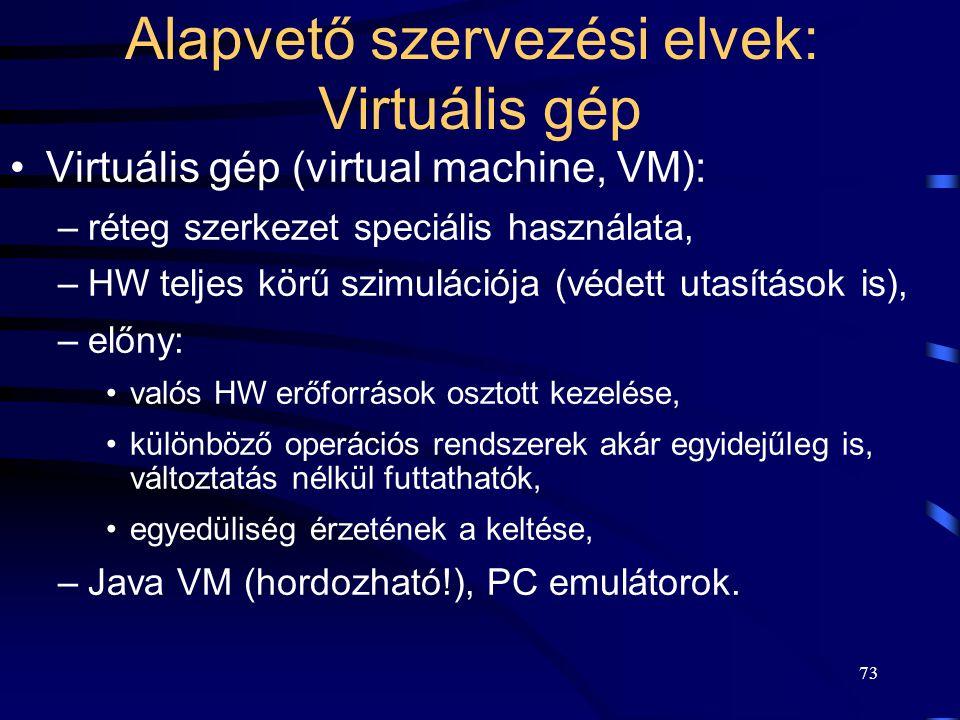 Alapvető szervezési elvek: Virtuális gép
