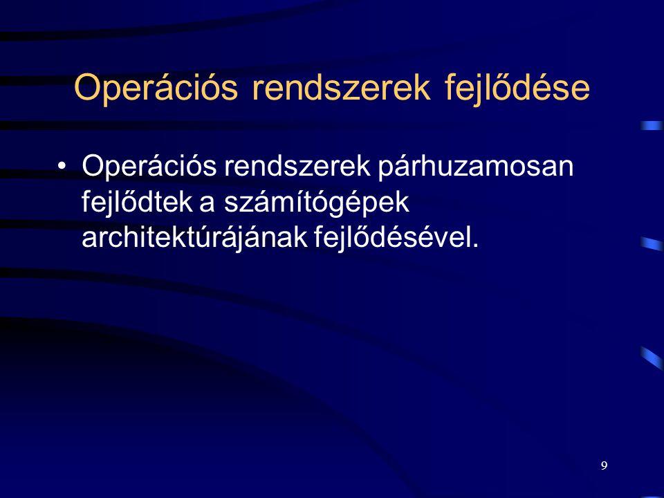 Operációs rendszerek fejlődése
