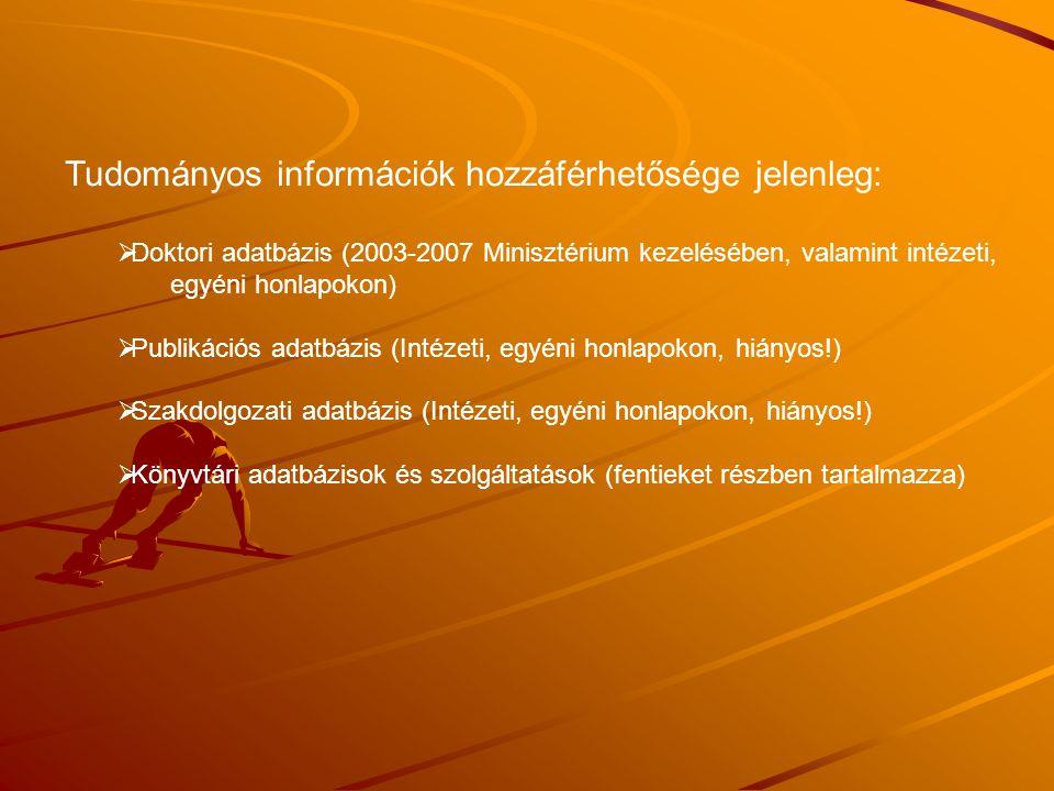 Tudományos információk hozzáférhetősége jelenleg:
