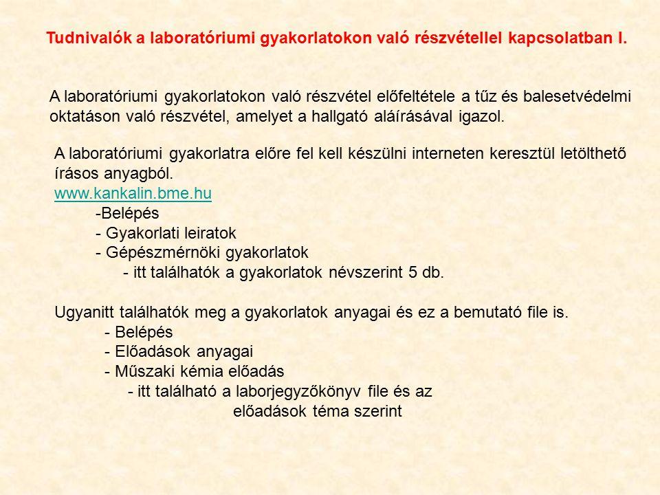 Tudnivalók a laboratóriumi gyakorlatokon való részvétellel kapcsolatban I.