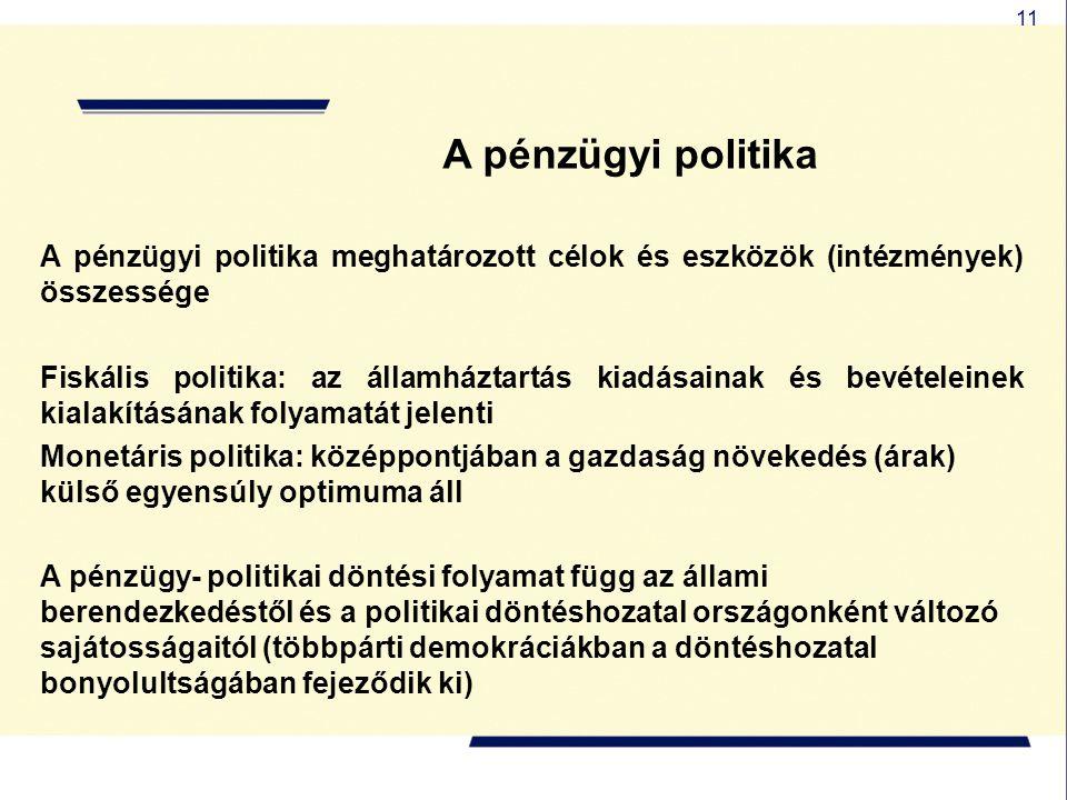 A pénzügyi politika A pénzügyi politika meghatározott célok és eszközök (intézmények) összessége.