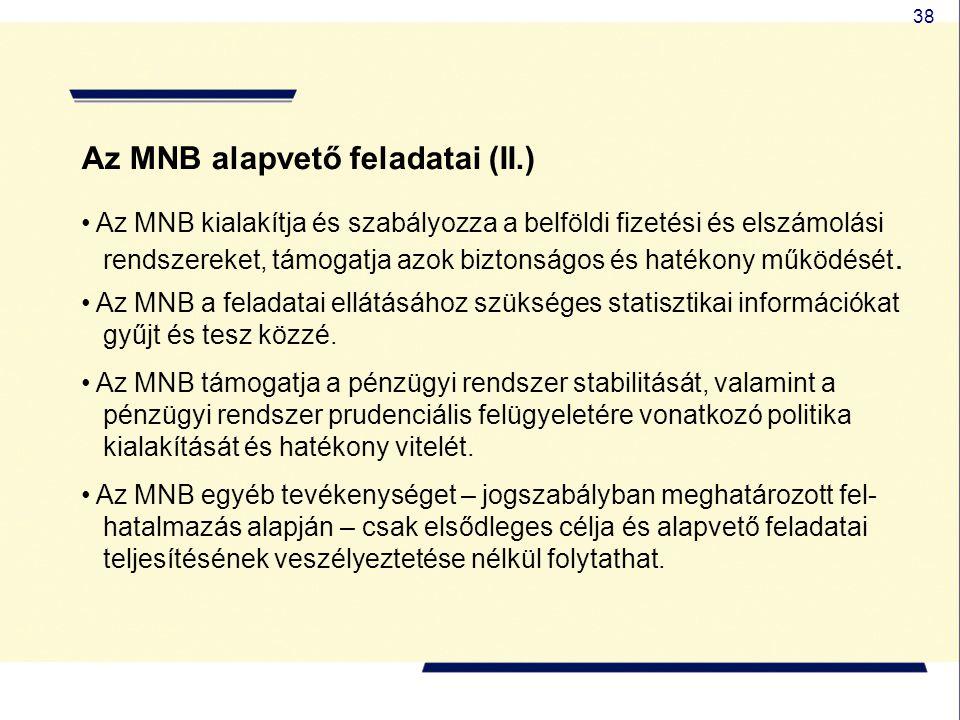 Az MNB alapvető feladatai (II.)