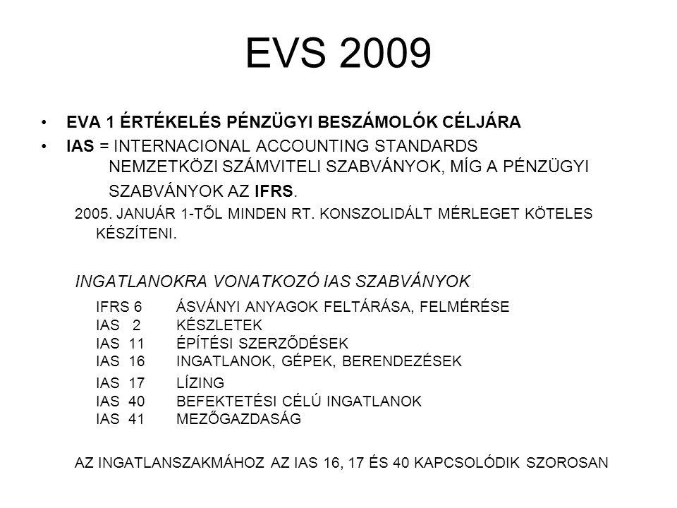 EVS 2009 EVA 1 ÉRTÉKELÉS PÉNZÜGYI BESZÁMOLÓK CÉLJÁRA