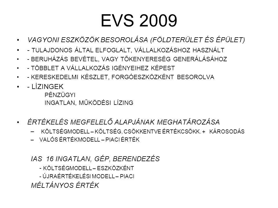 EVS 2009 VAGYONI ESZKÖZÖK BESOROLÁSA (FÖLDTERÜLET ÉS ÉPÜLET)