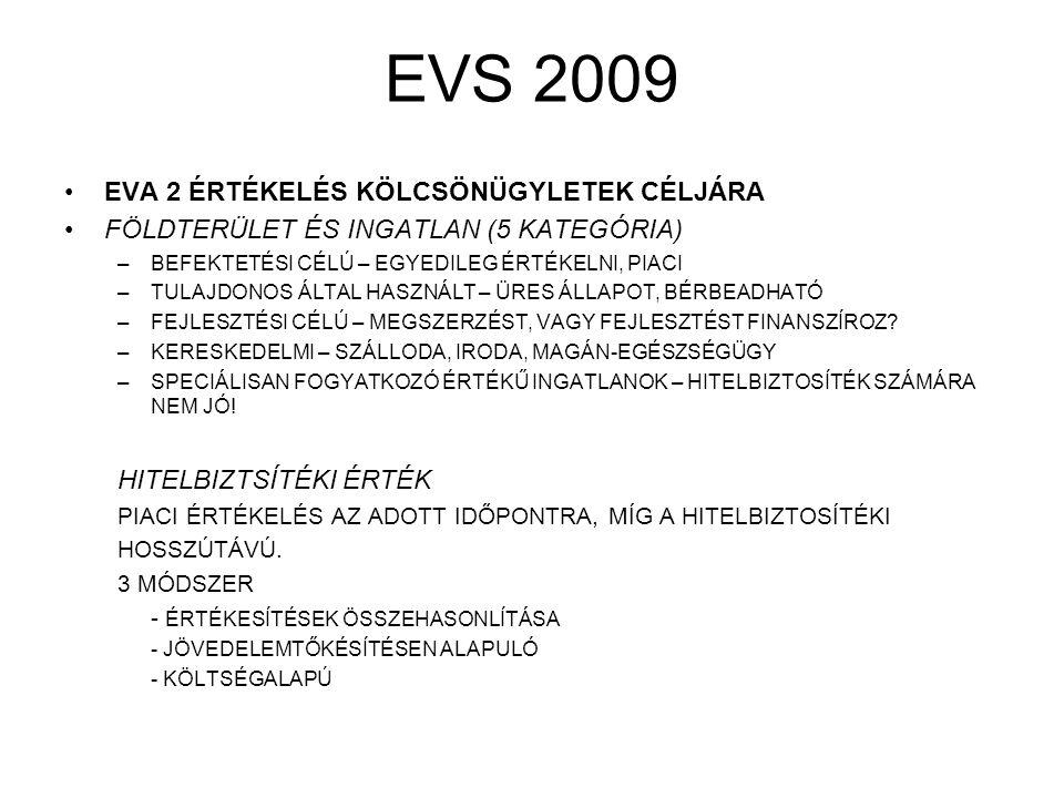 EVS 2009 EVA 2 ÉRTÉKELÉS KÖLCSÖNÜGYLETEK CÉLJÁRA