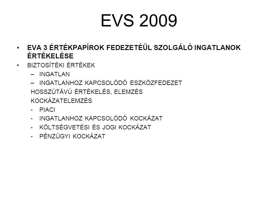 EVS 2009 EVA 3 ÉRTÉKPAPÍROK FEDEZETÉÜL SZOLGÁLÓ INGATLANOK ÉRTÉKELÉSE