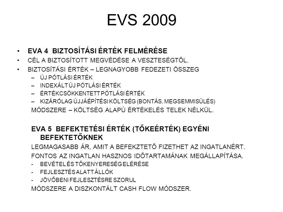 EVS 2009 EVA 4 BIZTOSÍTÁSI ÉRTÉK FELMÉRÉSE