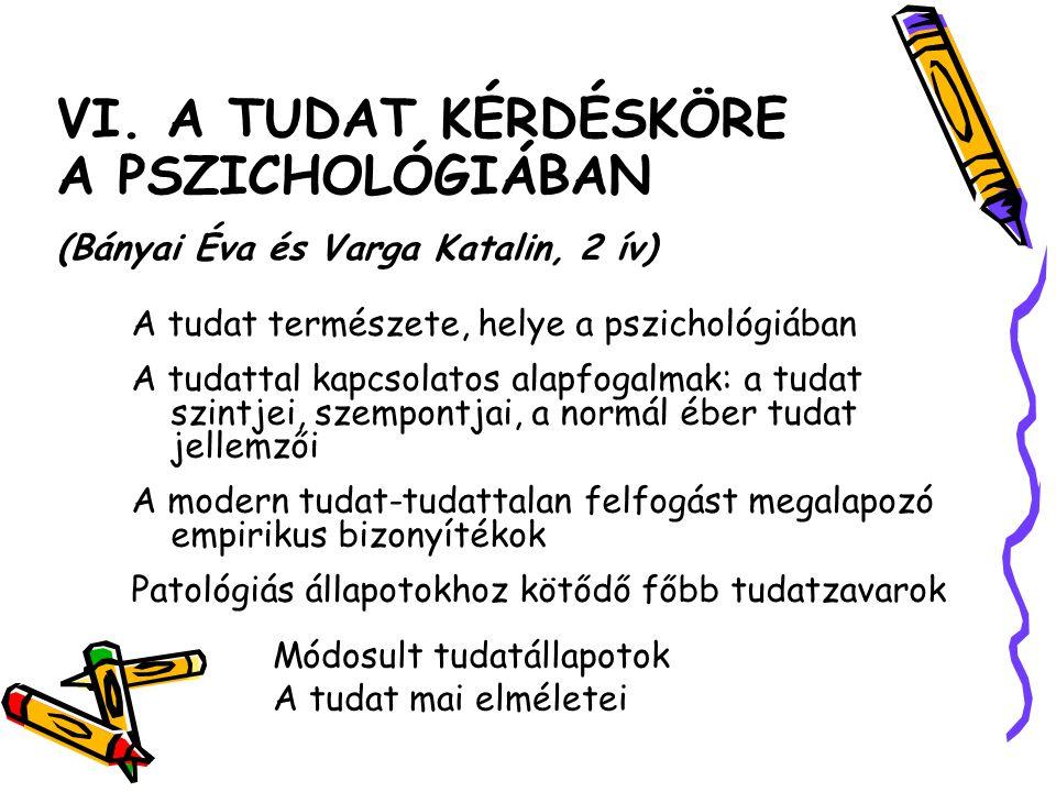 VI. A TUDAT KÉRDÉSKÖRE A PSZICHOLÓGIÁBAN (Bányai Éva és Varga Katalin, 2 ív)