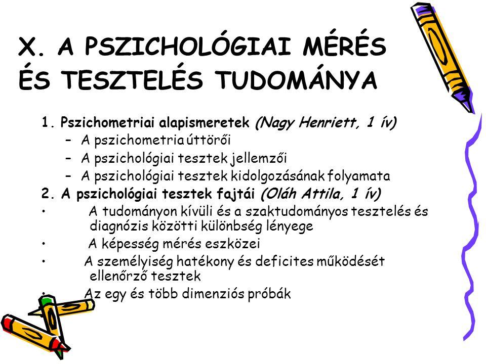 X. A PSZICHOLÓGIAI MÉRÉS ÉS TESZTELÉS TUDOMÁNYA