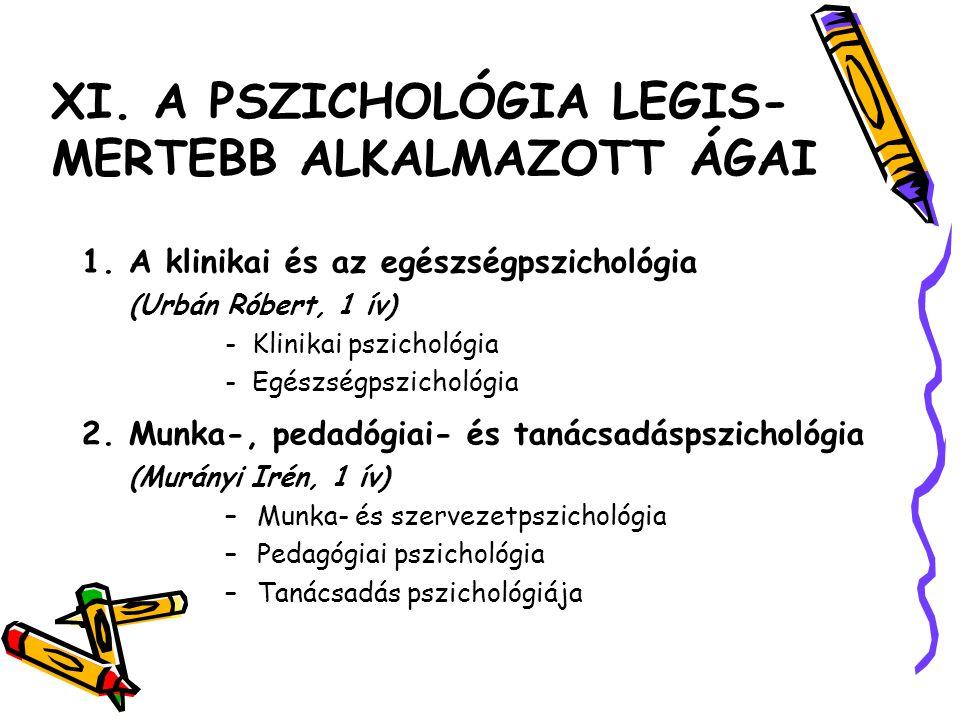 XI. A PSZICHOLÓGIA LEGIS-MERTEBB ALKALMAZOTT ÁGAI