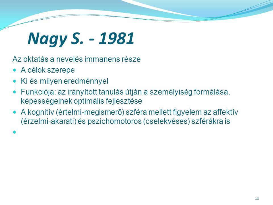 Nagy S. - 1981 Az oktatás a nevelés immanens része A célok szerepe