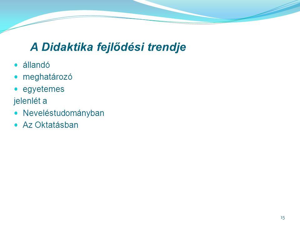 A Didaktika fejlődési trendje