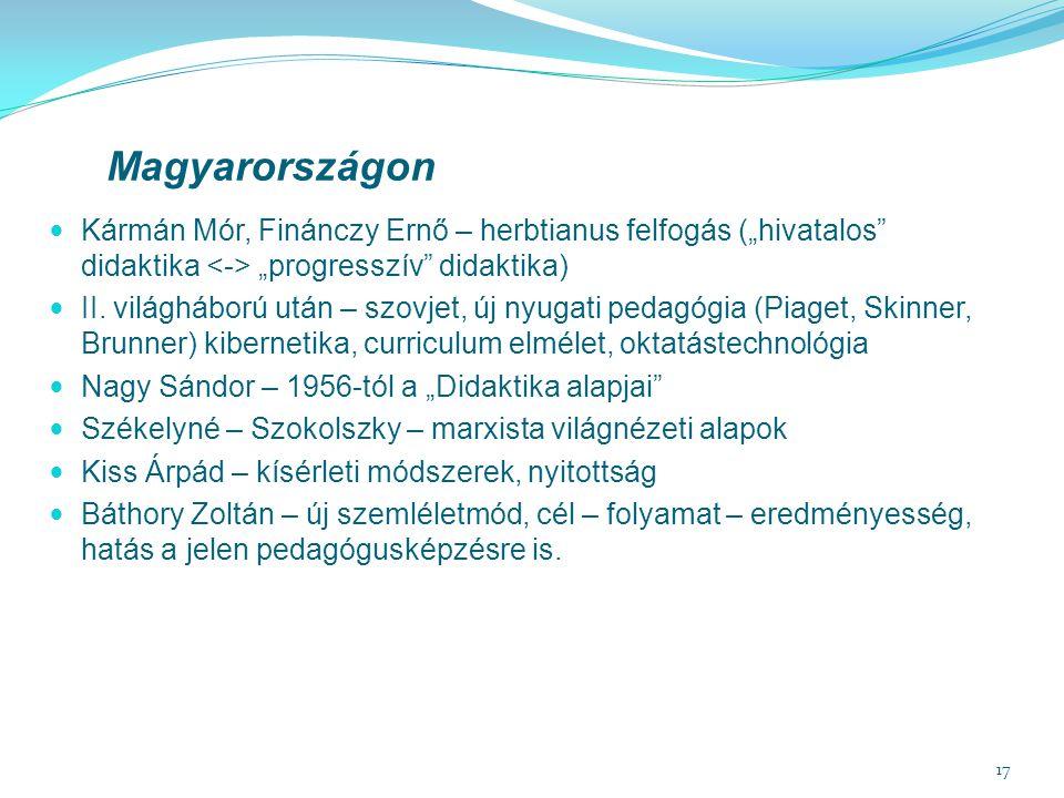 """Magyarországon Kármán Mór, Finánczy Ernő – herbtianus felfogás (""""hivatalos didaktika <-> """"progresszív didaktika)"""