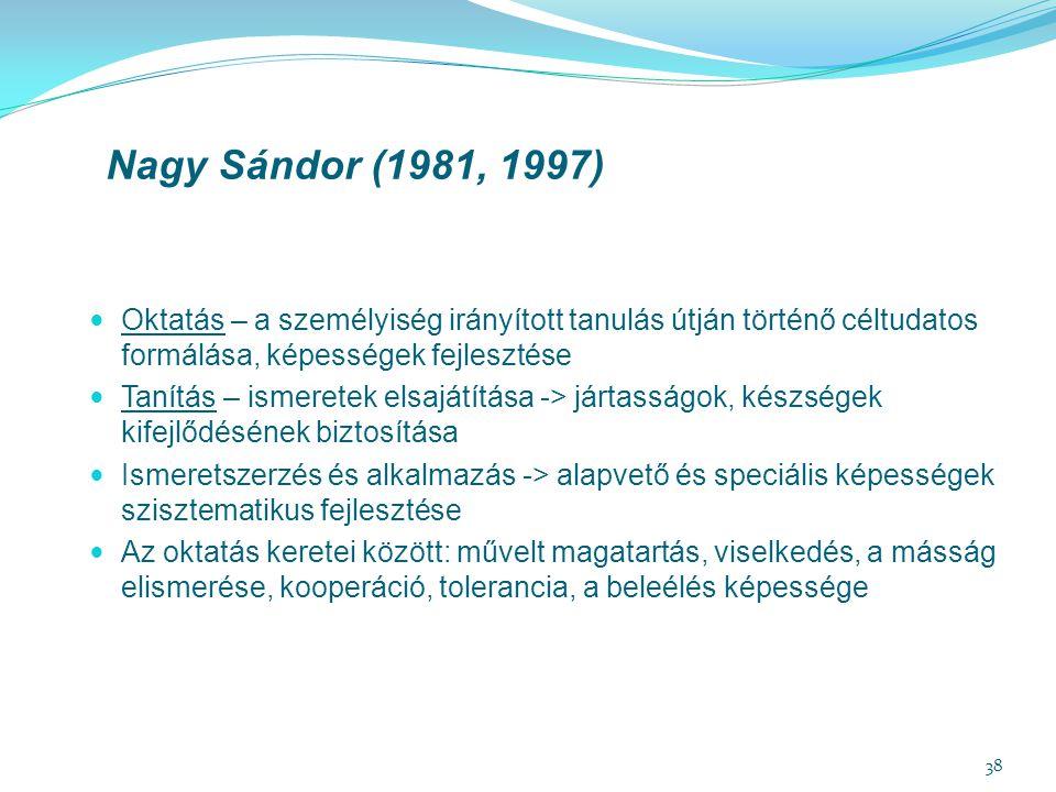 Nagy Sándor (1981, 1997) Oktatás – a személyiség irányított tanulás útján történő céltudatos formálása, képességek fejlesztése.