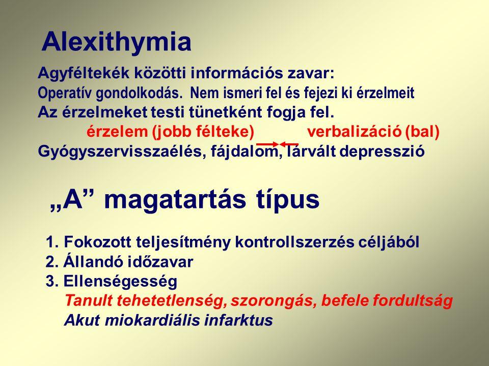 """Alexithymia """"A magatartás típus"""