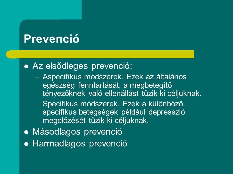 Prevenció Az elsődleges prevenció: Másodlagos prevenció