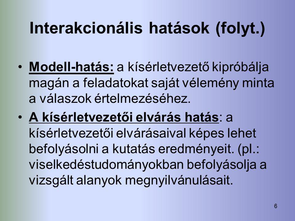 Interakcionális hatások (folyt.)