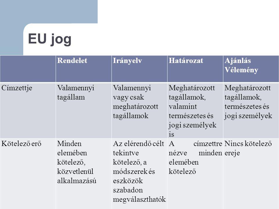 EU jog Rendelet Irányelv Határozat Ajánlás Vélemény Címzettje