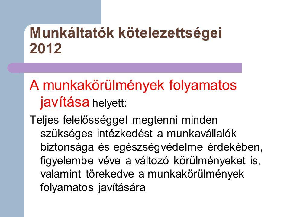 Munkáltatók kötelezettségei 2012